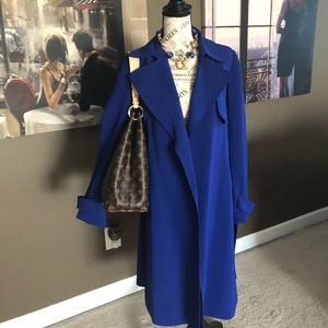 THEORY Cosmic Blue Trench Coat NWT